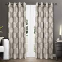 Exclusive Home Curtains Akola Medallion Linen Jacquard Grommet Top Curtain Panel Pair, 54x96, Natural, 2 Piece