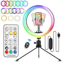 """ELEGIANT 10.2"""" Selfie Ring Light with Tripod Stand, 29 Colors RGB 4 Light Mode 9 Brightness Level, Brightness can be Adjusted by Remote Controller, for YouTube Video Live Stream Makeup Photography"""