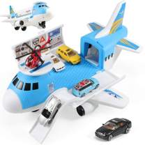 Geyiie Airplane Car Toys, Aircraft Car Set Toys with 5pcs Vehicle Car, Parking Scene Game with Stickers, a Helicoper Toy for Kids Toddlers Boys Girls Gift