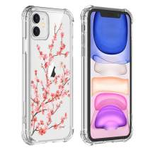Hi Space Cherry Blossom Clear Case iPhone 11 2019, Sakura Pink Floral Girls and Women Back Cover, Slim Transparent Flexible TPU Bumper Shockproof Protective Cover