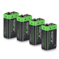 9V Lithium Battery, Enegitech 4 Pack 1200mAh Non-Rechargeable Li-ion Battery for Smoke Detector Fire Alarm Multimeter