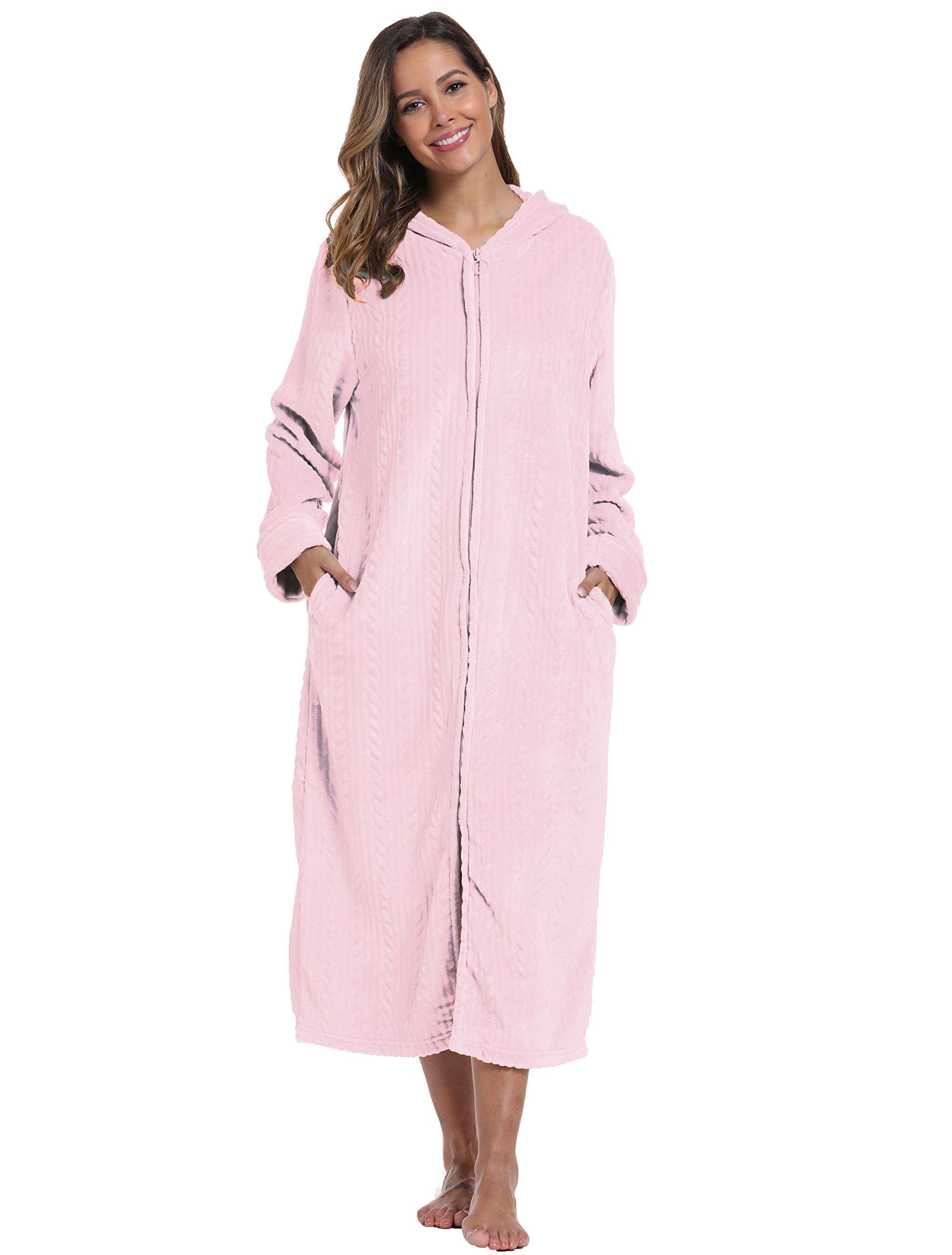 Foucome Robes for Women with Hood Long Soft Warm Full Length Sleepwear Zipper Front Plush Fleece Winter Ladies Robes