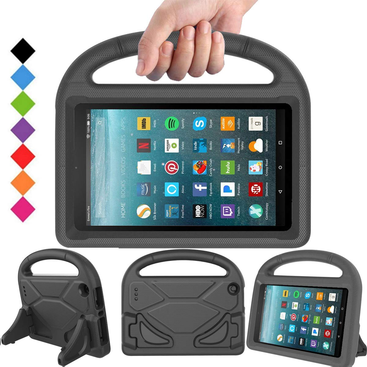 BMOUO Case for Fire 7 2017 - Light Weight Shock Proof Handle Kid –Proof Cover Kids Case for Fire 7 Tablet, Black