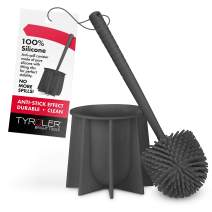 Tyröler Bright Tools Toilet Brush Set Made of 100% Silicone, Anti-Stick Effect Bristle Toilet Bowl Brush and Holder Fit All Toilets & Bathrooms (Gray)