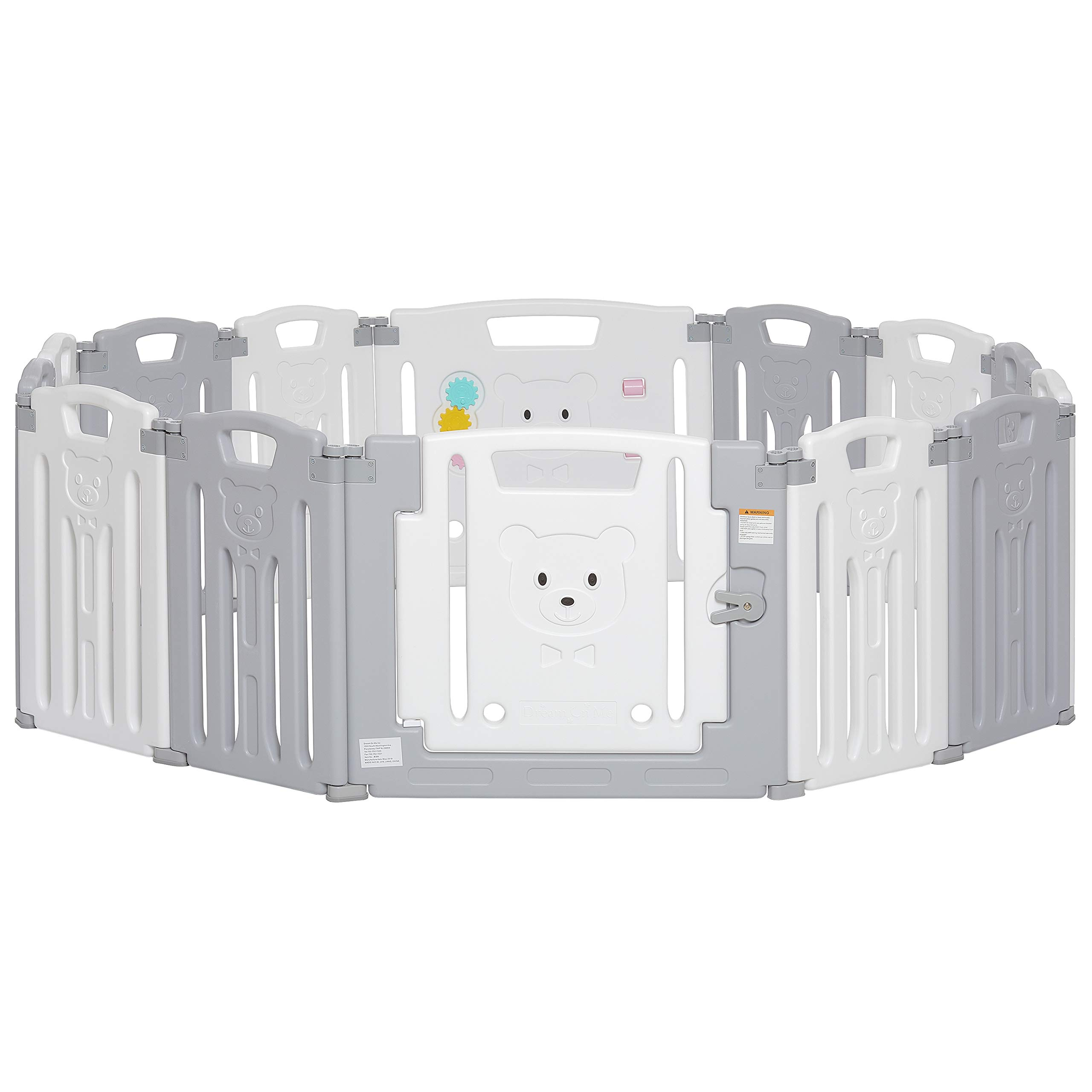 Dream On Me 14 Panel Oasis Play Center/Play Pen/Playard, Grey and White