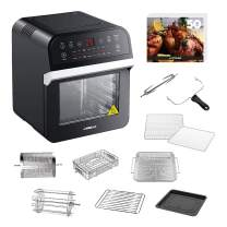 GoWISE USA 12.7-Quart Electric Air Fryer Oven w/Rotisserie and Dehydrator + Accessory Set and 50 Recipes (Black (Deluxe))