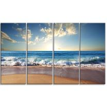 Designart Sea Sunset-Seascape Photography Canvas Art Print-48x28-4 Panels, 28'' H x 48'' W x 1'' D 4P, Blue