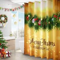AooHome New Year Gift Bathroom Curtain,Fabric Christmas Ball Décor Shower Curtain with Hooks, Heavy Duty, Weighted Hem, Yellow, 72x72