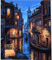 Paint by Numbers DIY Acrylic Painting Kit for Kids & Adults Beginner Drawing Paintwork with Paintbrushes, Acrylic Pigment-Waterside Town