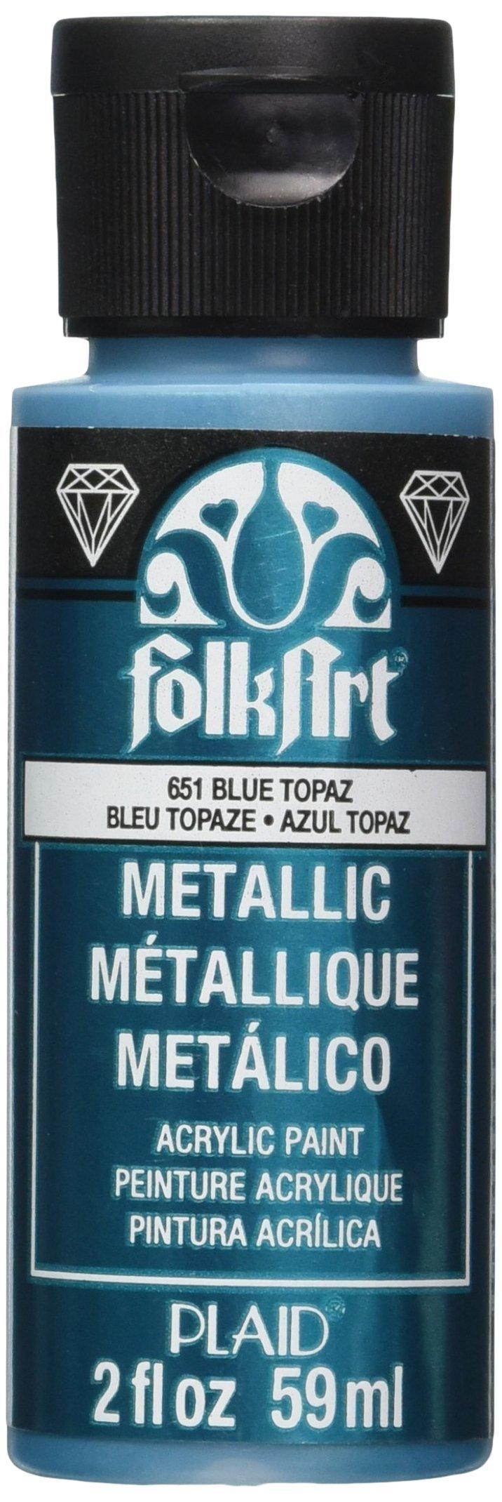 FolkArt Metallic Acrylic Paint in Assorted Colors (2 oz), 651, Blue Topaz