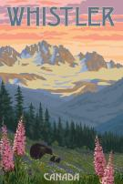 Whistler, Canada - Bear Family and Spring Flowers (9x12 Art Print, Wall Decor Travel Poster)