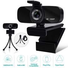 Webcam with Microphone, 1080P HD Webcam with Privacy Cover and Tripod, Computer HD Streaming Webcam, USB Web Camera for Daily Calling & Recording Conferencing/Business Meeting/Gaming/Recording