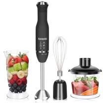 Kampeki Hand Blender 4 in 1 with high quality Stainless Steel Shaft and Blades, Powerful Speed Control, One Hand Use Mixer for Purees Smoothie, Sauces, Soups and More
