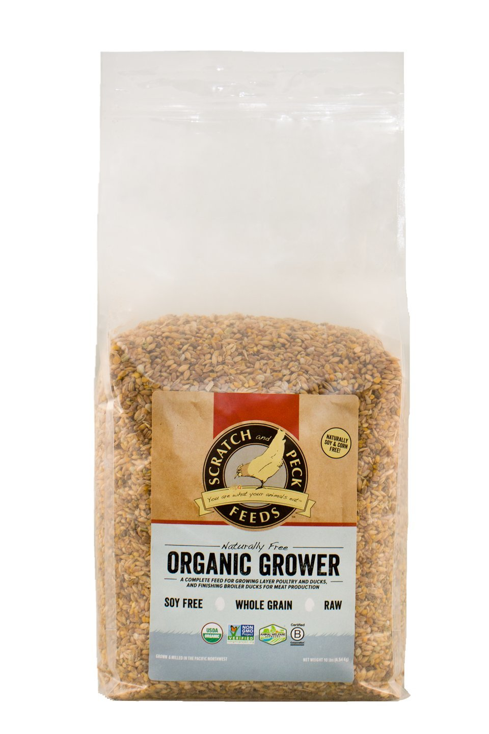 Naturally Free Organic Grower Feed for Chickens and Ducks - 10-lbs - Non-GMO Project Verified, Soy Free and Corn Free - Scratch and Peck Feeds