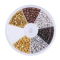 Pandahall 1Box/786pcs Heart Alloy 6 Color Tibetan Silver Spacer Beads 3x4x3mm for Jewelry Makings Antique Golden/Antique Bronze/Red Copper/Antique Silver/Golden/Gunmetal
