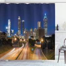 """Ambesonne Urban Shower Curtain, Image of Atlanta Skyline Twilight with Highway Buildings Skyscrapers Blurred Motion, Cloth Fabric Bathroom Decor Set with Hooks, 75"""" Long, Navy Gold"""