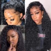 4x4 Lace Front Wigs Human Hair Curly Wigs for Black Women 9a Curly Wave Lace Front Wigs Human Hair Pre Plucked with Baby Hair Deep Curly Natural Color 16 Inch