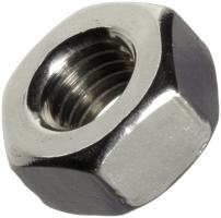 """18-8 Stainless Steel Machine Screw Hex Nut, Plain Finish, ASME B18.6.3, #6-40 Thread Size, 7/64"""" Width Across Flats, 5/16"""" Thick (Pack of 100)"""
