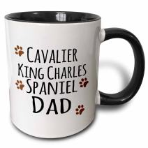 3dRose Cavalier King Charles Spaniel Dog Dad Mug, 11 oz, Black