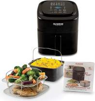 NUWAVE BRIO 6-Quart Digital Air Fryer cooking package with one-touch digital controls, 6 easy presets, precise temperature control, recipe book, basket divider, wattage control, and advanced functions like PREHEAT, REHEAT and more, also includes non-stick baking pan and stainless-steel cooking rack (6-Quart + Gourmet Kit)
