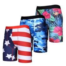 Heyfanee Men's Compression Shorts with Pocket 3 Pack Workout Underwear