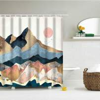 IcosaMro Mountain Shower Curtain for Bathroom with Hooks, Sun Nature Landscape Scenery Decorative Long Cloth Fabric Shower Curtain Bath Decorations, 71Wx72L, Beige