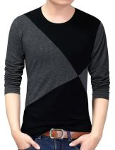 Yong Horse Men's Casual Stitching Tops Shirts Slim Fit Crew Neck Long Sleeve Athletic Basic Cotton T-Shirt