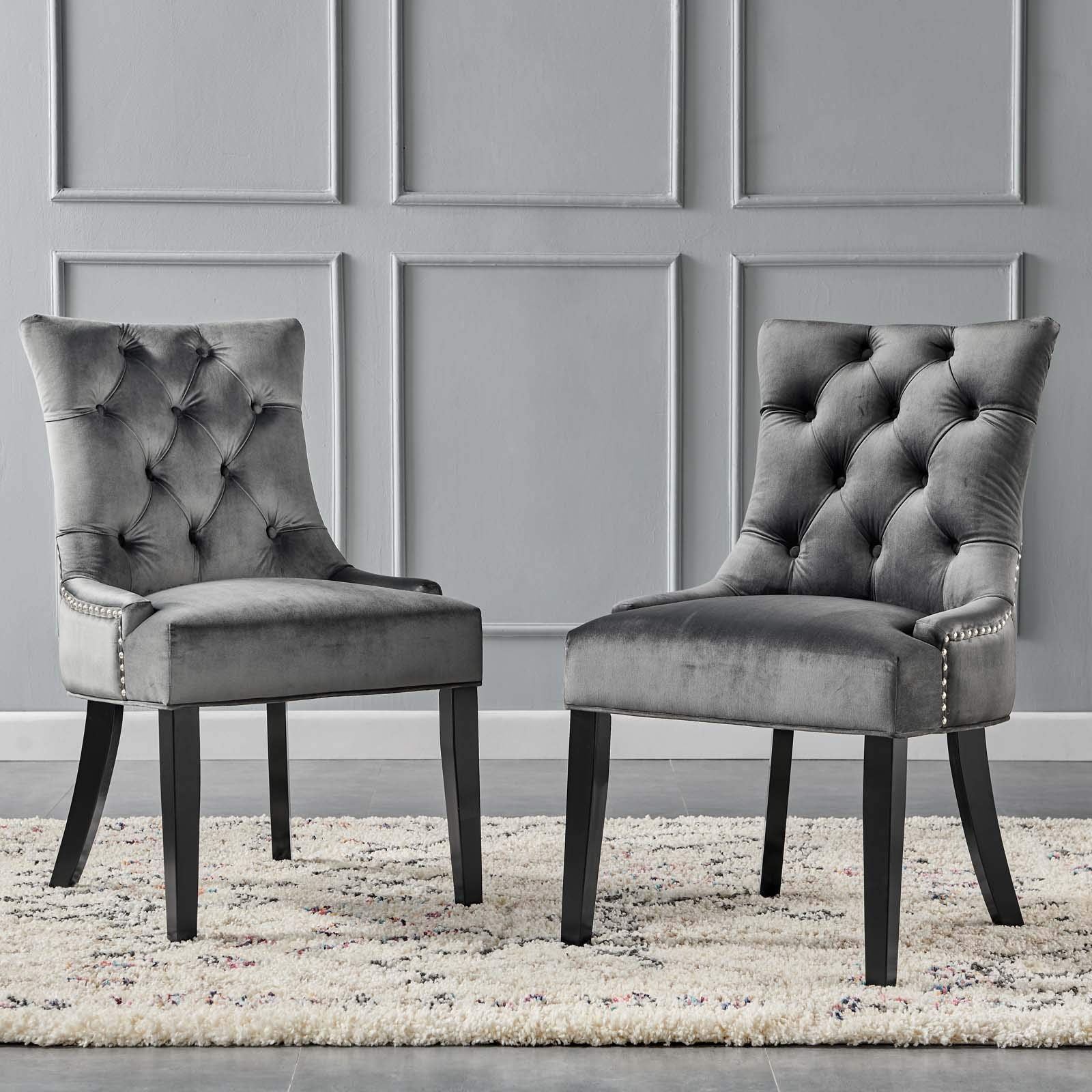 Modway Regent Tufted Performance Velvet Dining Side Chairs - Set of 2, Charcoal