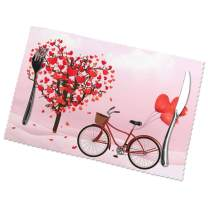 TianHeYue Valentine Love Heart Tree Bicycle Romantic Placemats Set of 6, Non Slip Heat-Resistant Washable Table Place Mats for Kitchen Dining Home Decoration, 12 x 18 Inch