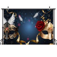 LYWYGG Birthday Party Thin Vinyl Photography Backdrop 7x5FT Masquerade Mysterious Photography Backdrop Photo Background Studio Prop for Wedding, Party, Newborn, Children, and Product Photography CP-5
