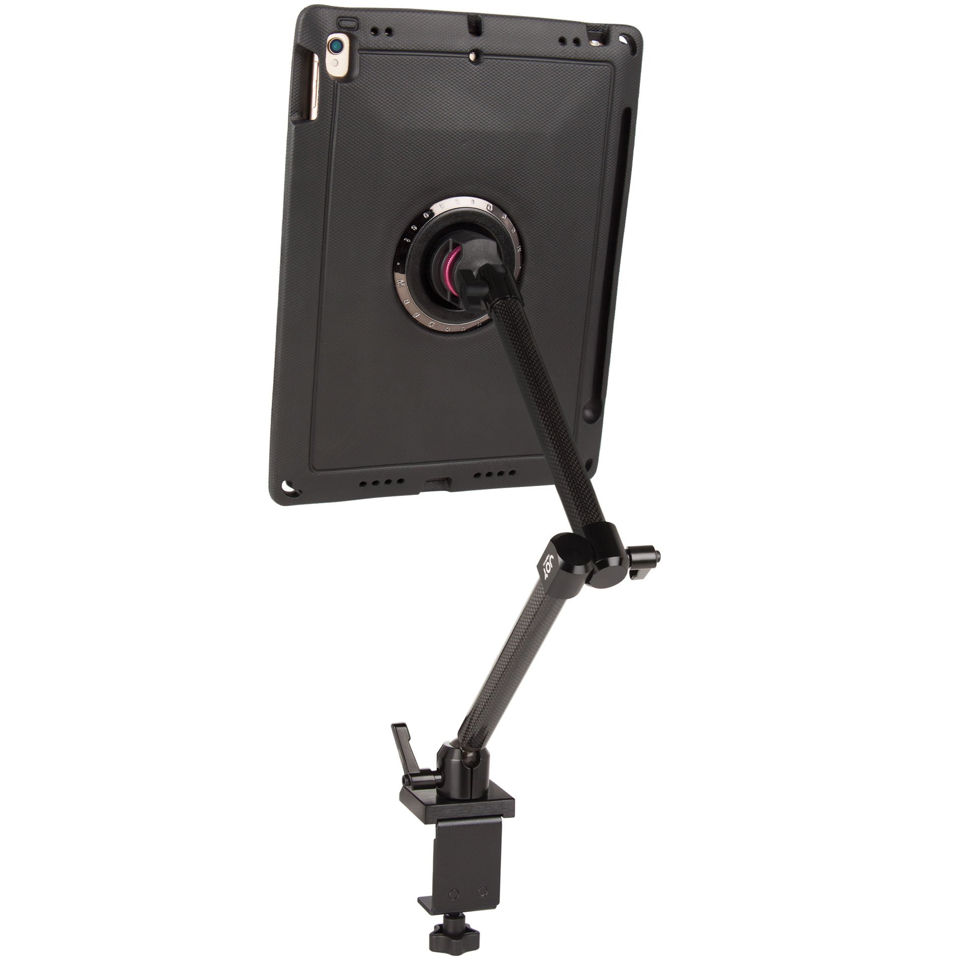 """The Joy Factory MagConnect Carbon Fiber Clamp Table Mount with aXtion Edge M Rugged Case for iPad Pro 10.5"""" and iPad Air 3 (MWA703)"""
