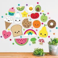 Paper Riot Co. Bright Kawaii Cartoon Food Wall Decals. Includes 19 Characters and 128 Multi-Color dots Peel and Stick Decor, Easy to Remove Vinyl Decals. Safe on Painted Walls or Smooth Surfaces