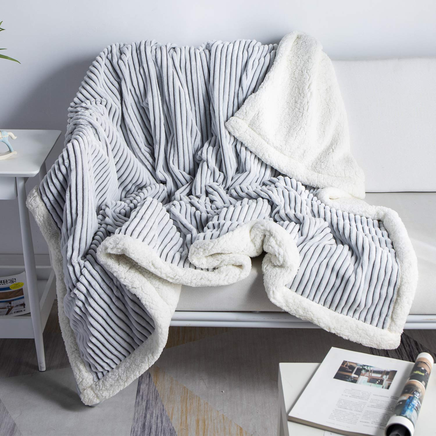 """DISSA Sherpa Fleece Blanket Throw Blanket Soft Blanket Plush Fluffy Blanket Warm Cozy with Grey and White Strip Perfect Throw for All Seasons for Couch Bed Sofa (Grey, 51"""" x63'')"""