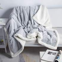 """DISSA Sherpa Fleece Blanket Throw Blanket Soft Blanket Plush Fluffy Blanket Warm Cozy with Grey and White Strip Perfect Throw for All Seasons for Couch Bed Sofa (Grey, 60"""" x80'')"""