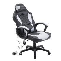 HOMCOM Racing Style Ergonomic Gaming Chair with Lumbar Support - White/Black