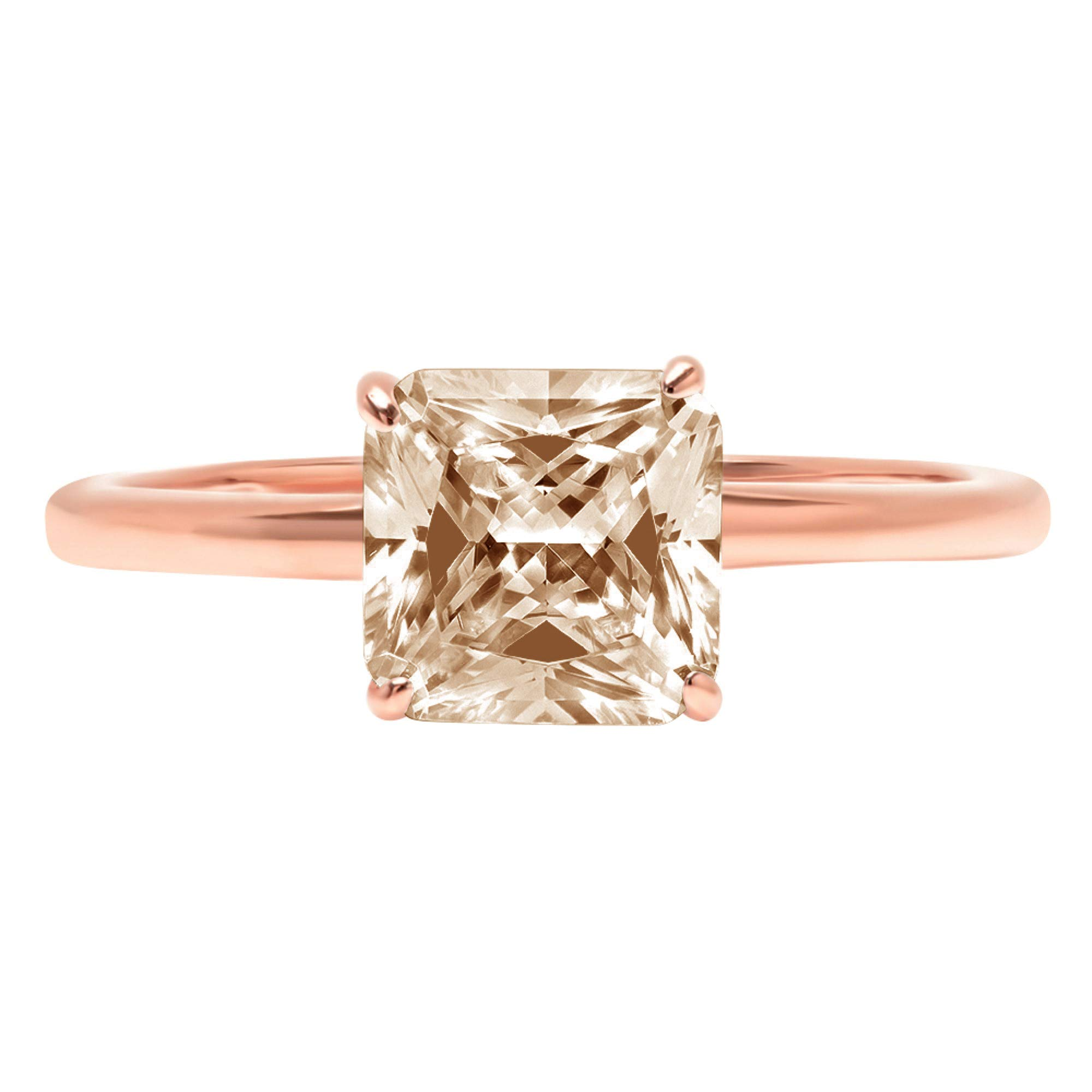 0.95ct Brilliant Asscher Cut Solitaire Brown Champagne Simulated Diamond CZ Ideal VVS1 D 4-Prong Classic Designer Statement Ring Solid Real 14k Rose Gold for Women