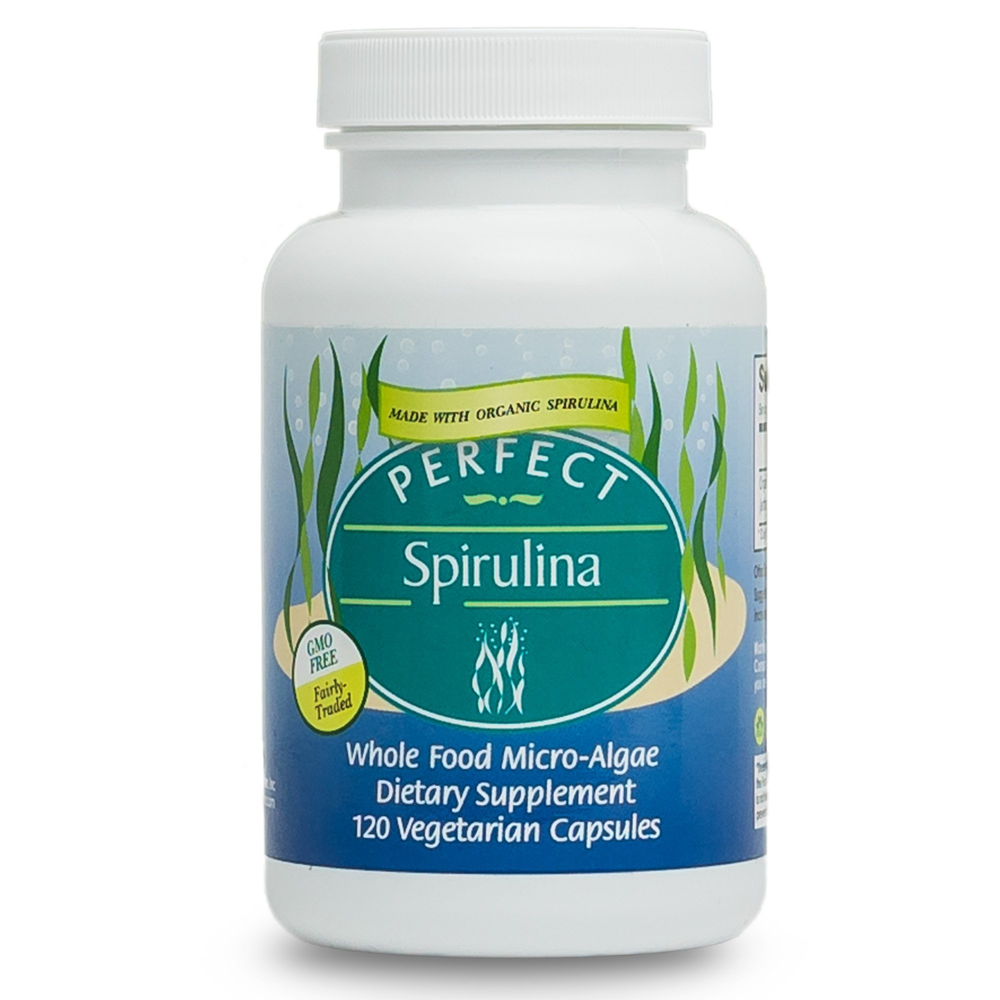 Perfect Supplements Spirulina Capsules - Certified Raw, USDA Organic, Fairly-Traded Spirulina - Whole Food Micro-Algae - 120 Vegetable Capsules