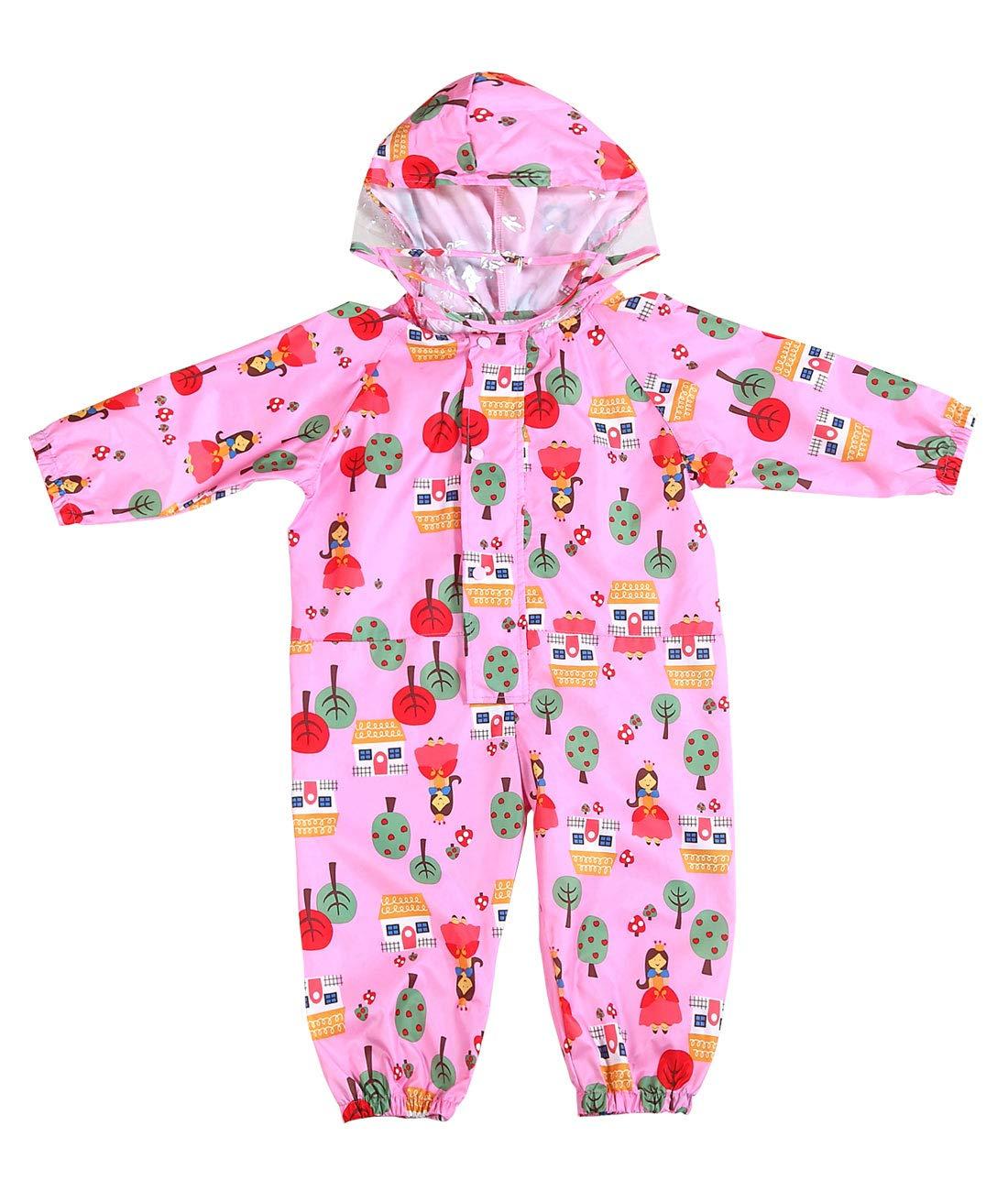 Happy Cherry Kids One Piece Rainsuits Waterproof Outerwear Rain Coat Jacket Cartoon Rain Slicker for Boys Girls