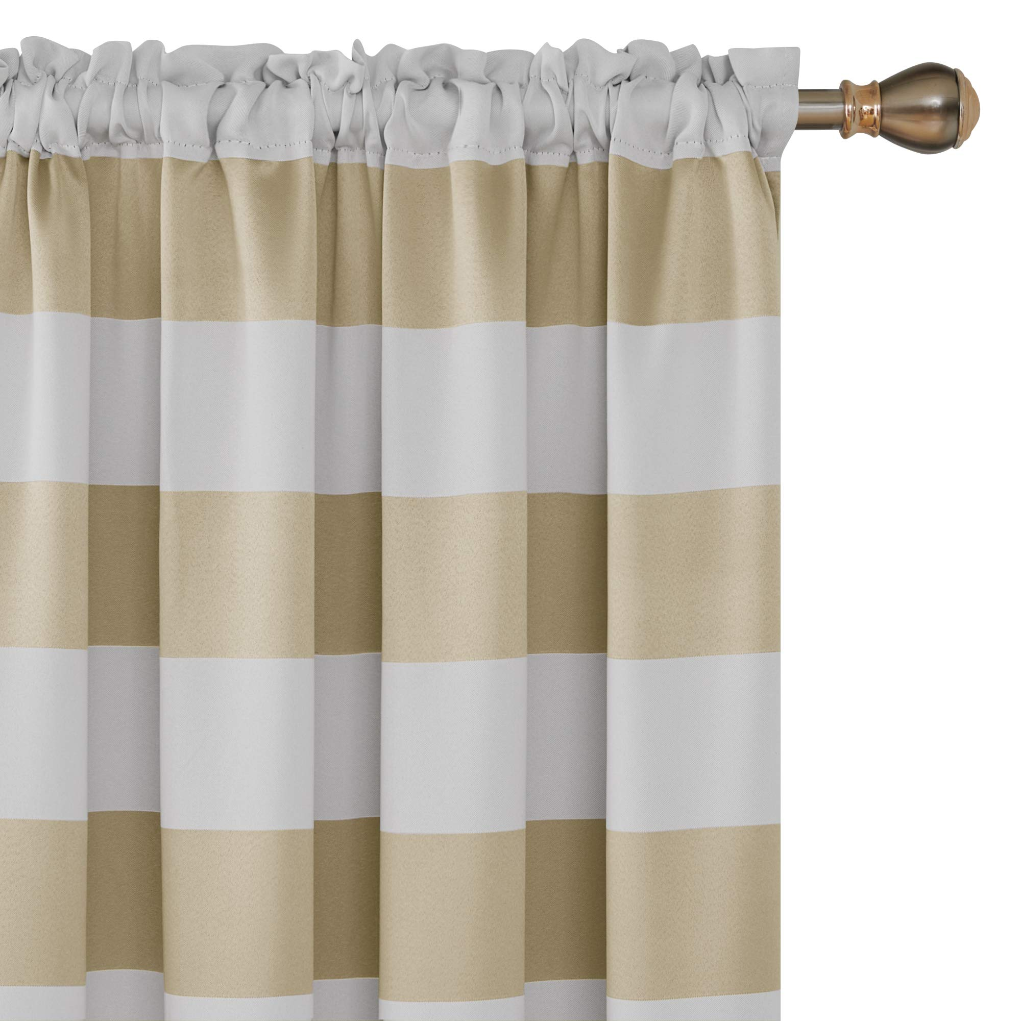 Deconovo Striped Pattern Room Darkening Curtains Rod Pocket Thermal Insulated Curtains for Window Curtains 42W X 84L Champagne 2 Panels Curtains