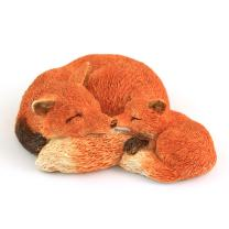 Top Collection Miniature Fairy Garden and Terrarium Sleeping Mama Red Fox with Baby