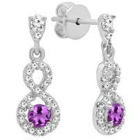 Dazzlingrock Collection 10K 3 MM Each Round Gemstone & Diamond Ladies Infinity Swirl Dangling Drop Earrings, White Gold