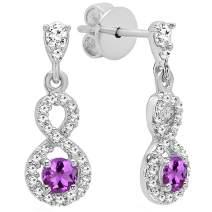 Dazzlingrock Collection 10K 3 MM Each Round Gemstone & Diamond Ladies Infinity Swirl Dangling Drop Earrings, White Gold