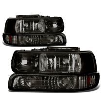 DNA Motoring HL-OH-CS99-4P-SM-AB Headlight Assembly, Driver and Passenger Side,Smoked amber