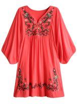 futurino Women's Bohemian Embroidery Floral Tunic Shift Blouse Flowy Mini Dress