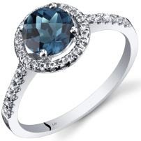 14K White Gold London Blue Topaz Halo Ring Round Checkerboard Cut 1.25 Carats Sizes 5 to 9