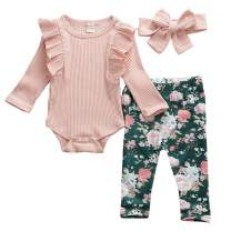 Newborn Baby Girls Cute Ruffle Solid Color Romper Jumpsuit Bodysuit Top+Floral Long Pants Trousers Headband Outfits Sets