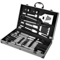 FLOLATIDIA BBQ Grilling Tool Set, BBQ Tools Set Barbecue Extra Strong Stainless Steel Utensils with Aluminum Storage Case-Barbecue Kit Men Outdoor Grill Kit for Dad Father's Gift (24)