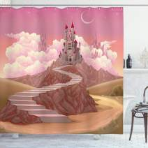 """Ambesonne Fairytale Shower Curtain, Princess and Castle Cartoon Like Image on The Hill with Sunset Image Art Print, Cloth Fabric Bathroom Decor Set with Hooks, 70"""" Long, Pale Rose"""
