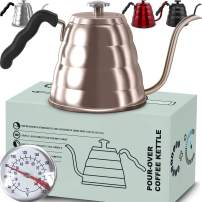 Pour Over Coffee Kettle with Thermometer-Flow Gooseneck Tea Kettles-Brew Barista-Standard Hand Drip Coffee Suitable all Stovetops and Induction, BPA Free (40 oz, Gold),Easter Gift!