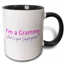 3dRose I'M A Grammy-What's Your Superpower Funny Gift for Grandma Mug, 11 oz, Black/Pink